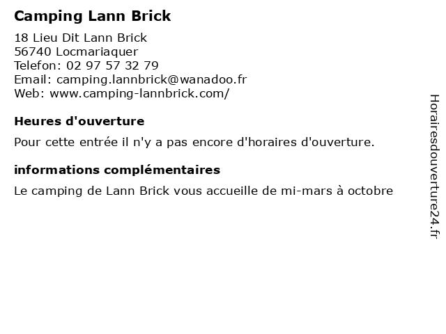 Camping Lann Brick à Locmariaquer: adresse et heures d'ouverture
