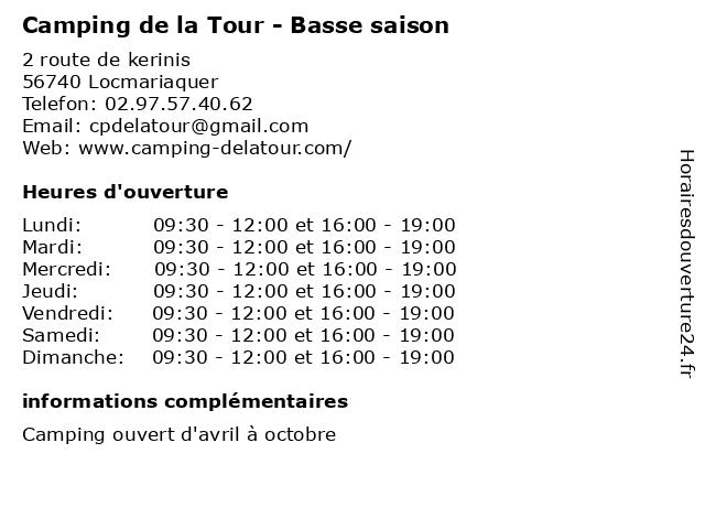 Camping de la Tour - Basse saison à Locmariaquer: adresse et heures d'ouverture