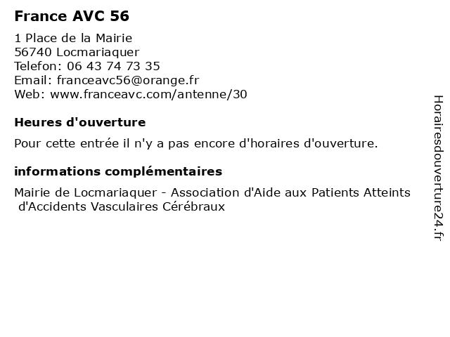 France AVC 56 à Locmariaquer: adresse et heures d'ouverture