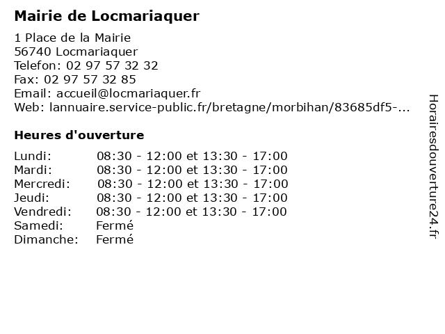 Mairie de Locmariaquer à Locmariaquer: adresse et heures d'ouverture