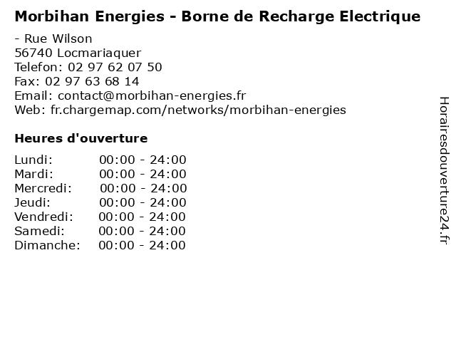 Morbihan Energies - Borne de Recharge Electrique à Locmariaquer: adresse et heures d'ouverture