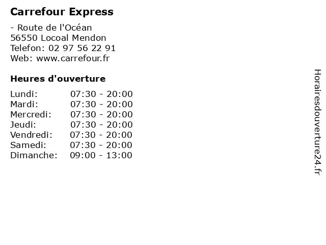 Carrefour Express à Locoal Mendon: adresse et heures d'ouverture