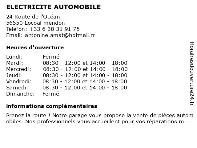 ELECTRICITE AUTOMOBILE à Locoal mendon: adresse et heures d'ouverture
