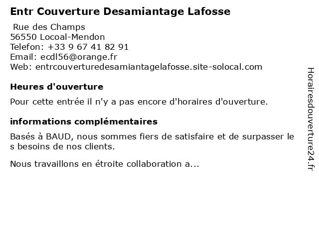 Entr Couverture Desamiantage Lafosse à Locoal-Mendon: adresse et heures d'ouverture