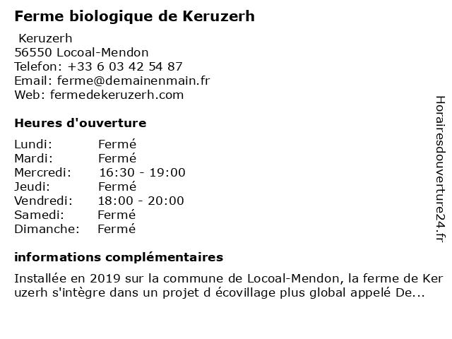 Ferme biologique de Keruzerh à Locoal-Mendon: adresse et heures d'ouverture