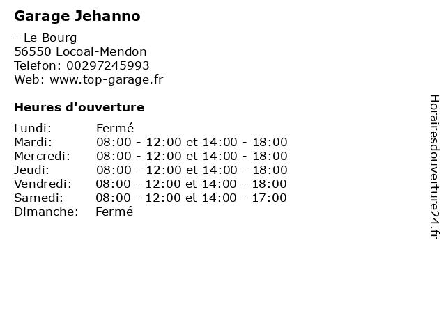 Garage Jehanno à Locoal-Mendon: adresse et heures d'ouverture