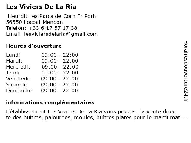 Les Viviers De La Ria à Locoal-Mendon: adresse et heures d'ouverture