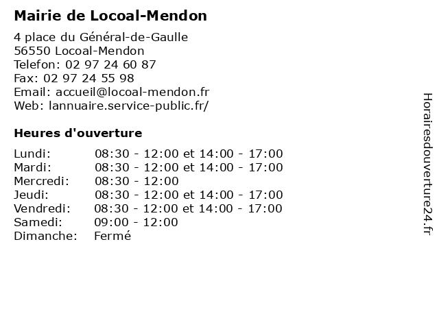 Mairie de Locoal-Mendon à Locoal-Mendon: adresse et heures d'ouverture