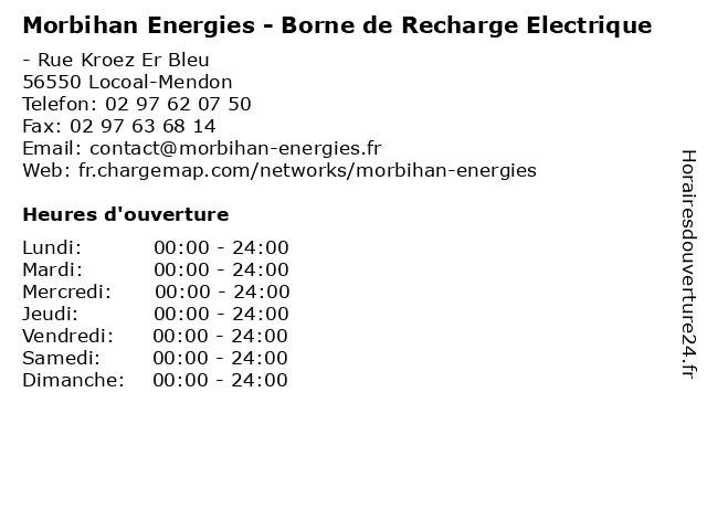 Morbihan Energies - Borne de Recharge Electrique à Locoal-Mendon: adresse et heures d'ouverture