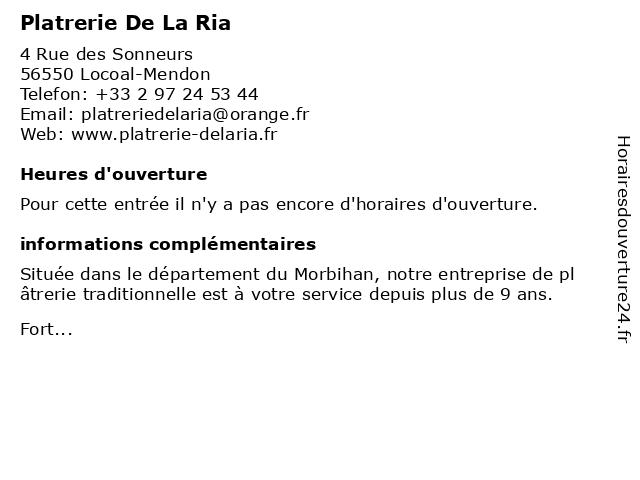 Platrerie De La Ria à Locoal-Mendon: adresse et heures d'ouverture