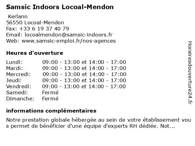 Samsic Indoors Locoal-Mendon à Locoal-Mendon: adresse et heures d'ouverture