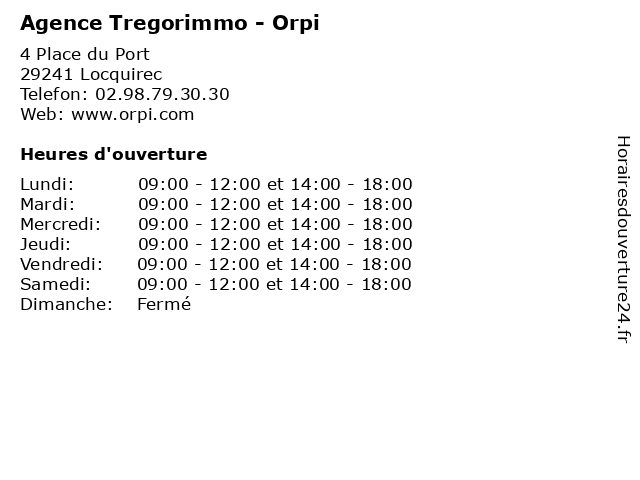 Agence Tregorimmo - Orpi à Locquirec: adresse et heures d'ouverture