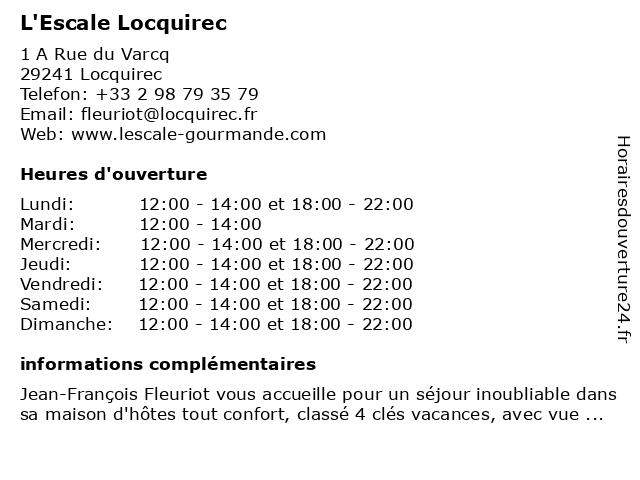 L'Escale Locquirec à Locquirec: adresse et heures d'ouverture