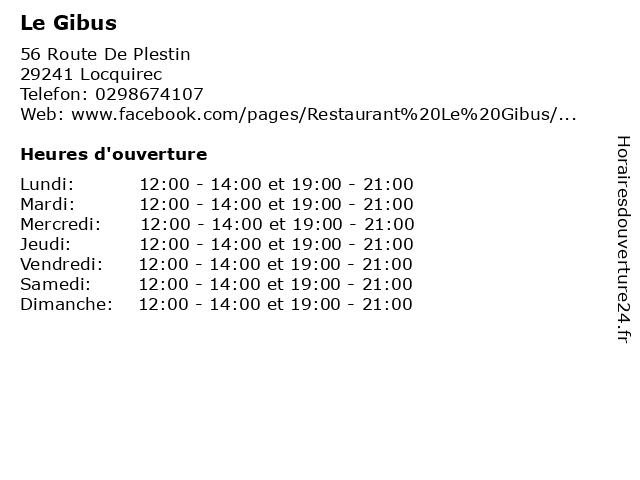 Le Gibus à Locquirec: adresse et heures d'ouverture