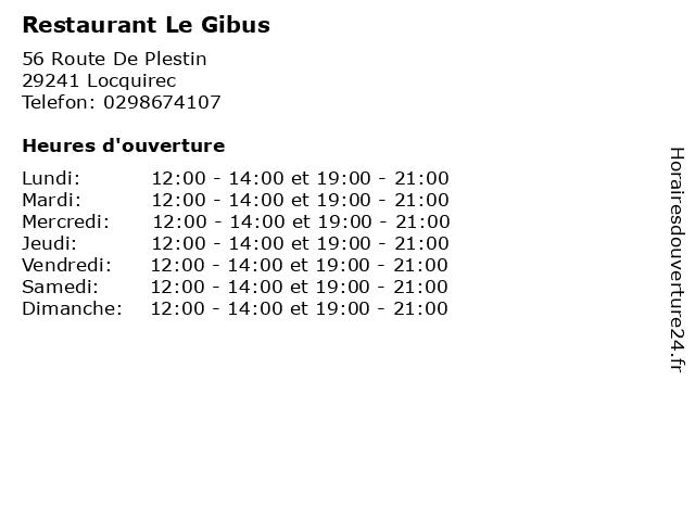 Restaurant Le Gibus à Locquirec: adresse et heures d'ouverture