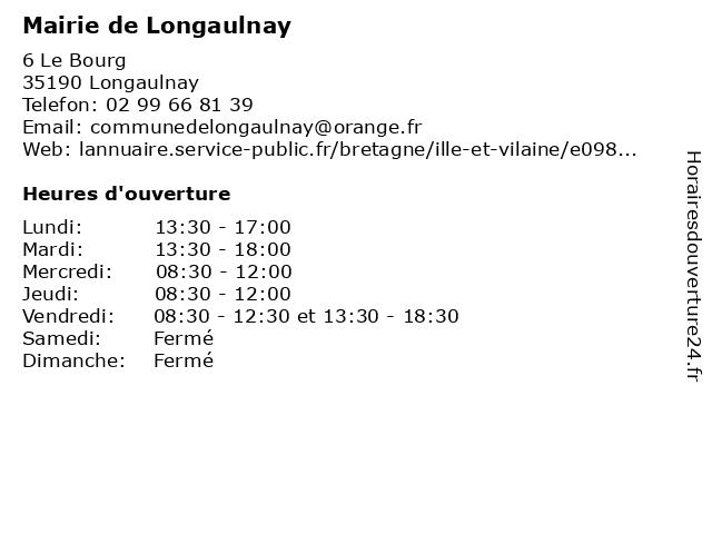 Mairie de Longaulnay à Longaulnay: adresse et heures d'ouverture