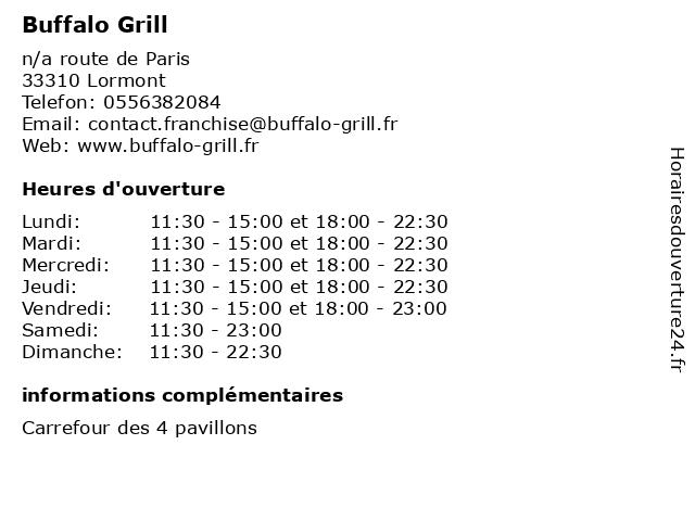 Buffalo Grill à Lormont: adresse et heures d'ouverture