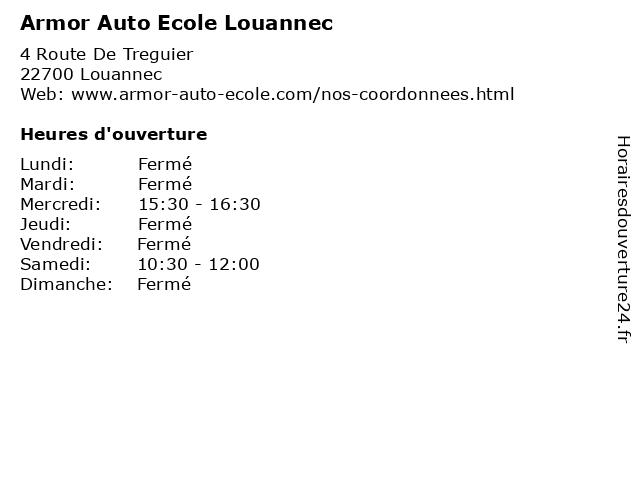 Armor Auto Ecole Louannec à Louannec: adresse et heures d'ouverture