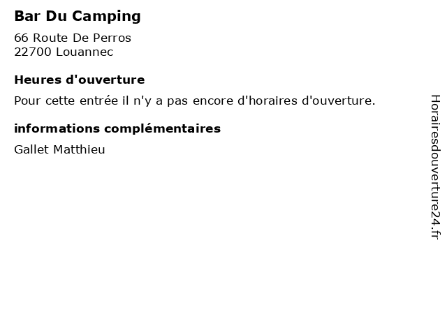 Bar Du Camping à Louannec: adresse et heures d'ouverture