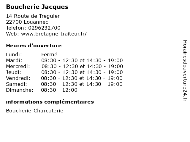 Boucherie Jacques à Louannec: adresse et heures d'ouverture