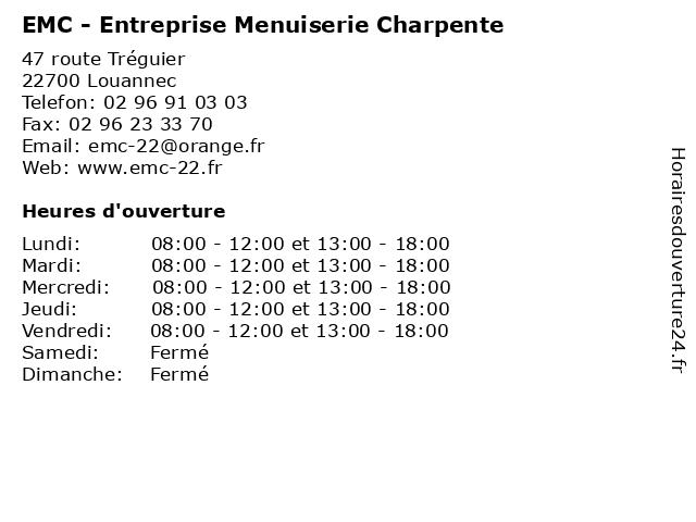 EMC - Entreprise Menuiserie Charpente à Louannec: adresse et heures d'ouverture