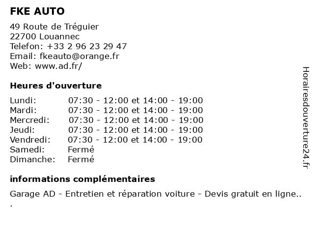 FKE AUTO à Louannec: adresse et heures d'ouverture