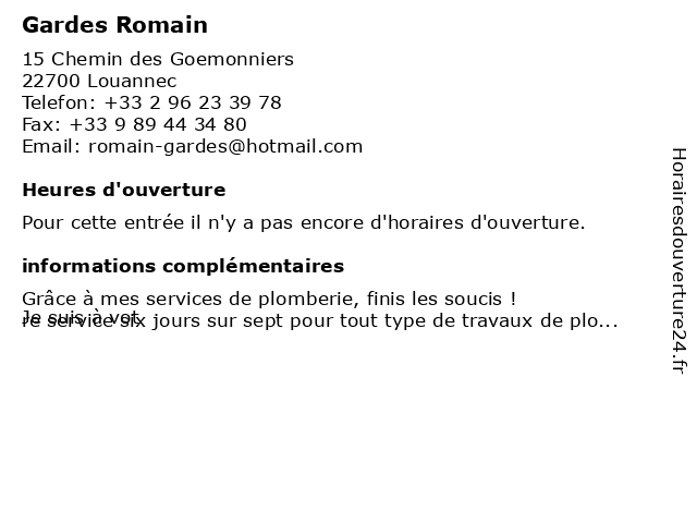 Gardes Romain à Louannec: adresse et heures d'ouverture