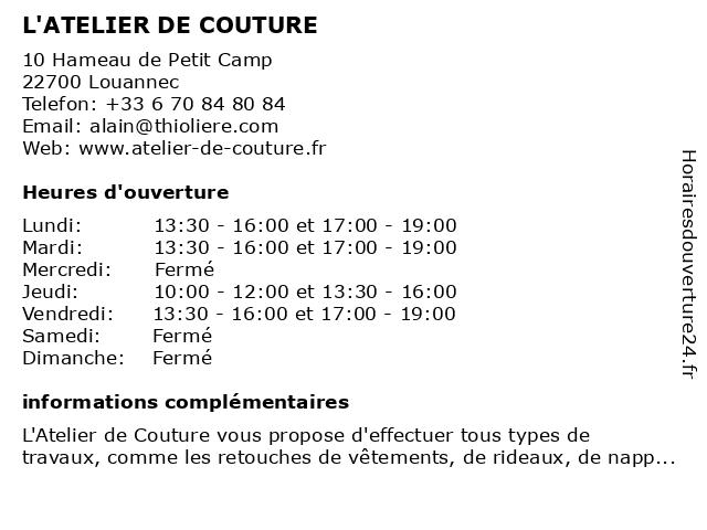 L'ATELIER DE COUTURE à Louannec: adresse et heures d'ouverture