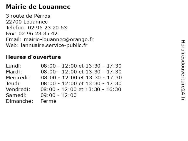 Mairie de Louannec à Louannec: adresse et heures d'ouverture