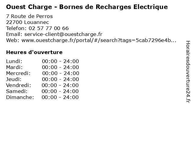 Ouest Charge - Bornes de Recharges Electrique à Louannec: adresse et heures d'ouverture