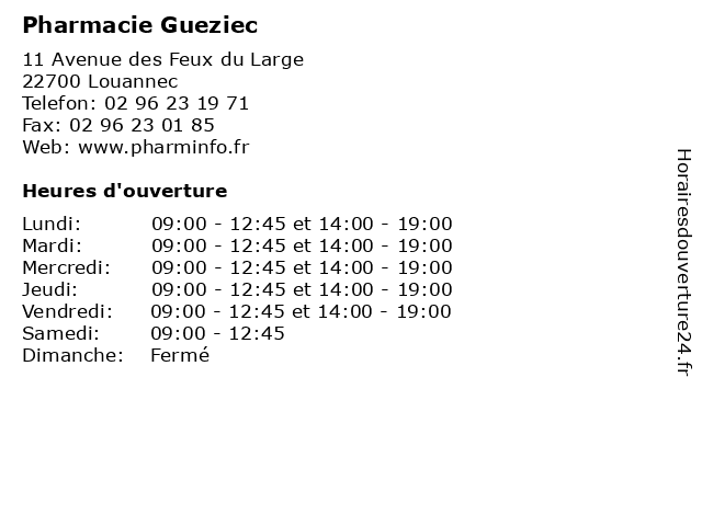Pharmacie Gueziec à Louannec: adresse et heures d'ouverture