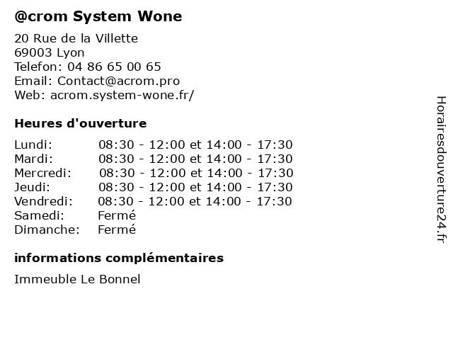 @crom System Wone à Lyon: adresse et heures d'ouverture