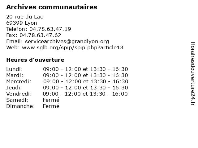 Archives communautaires à Lyon: adresse et heures d'ouverture