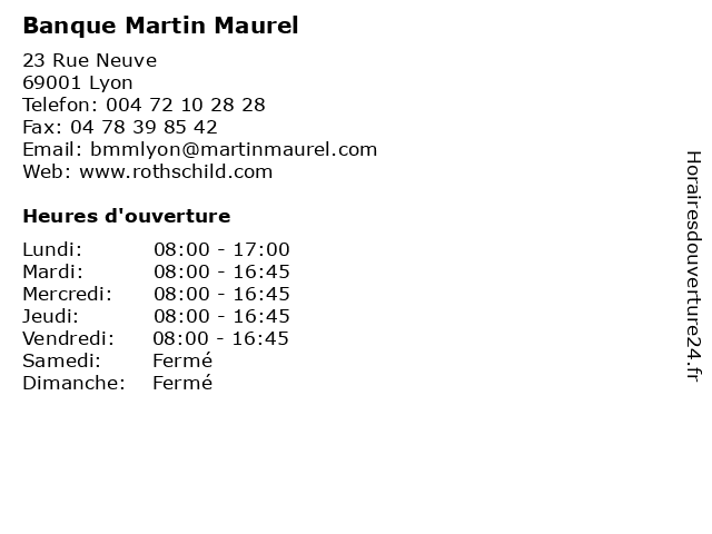 Banque Martin Maurel à Lyon: adresse et heures d'ouverture