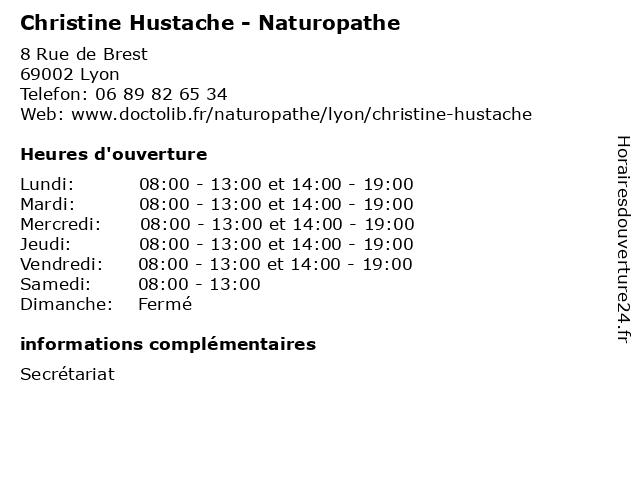 Christine Hustache - Naturopathe à Lyon: adresse et heures d'ouverture
