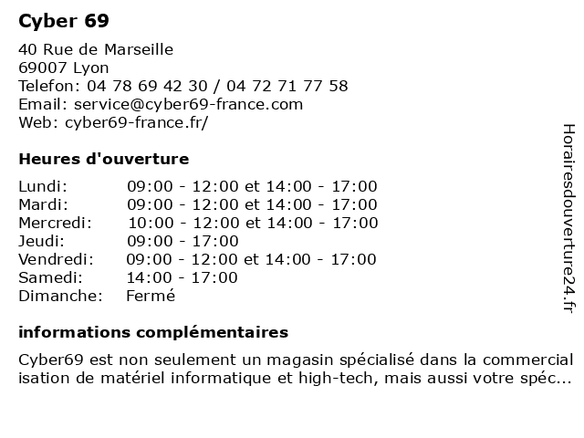 Cyber 69 à Lyon: adresse et heures d'ouverture