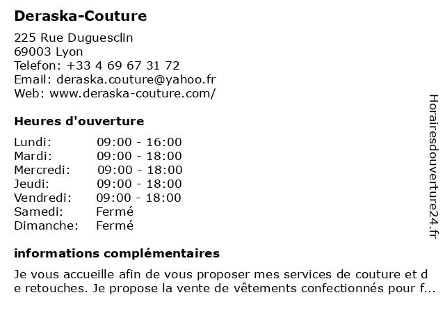 Deraska-Couture à Lyon: adresse et heures d'ouverture
