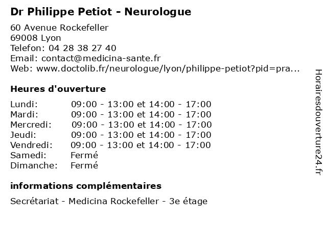 Dr Philippe Petiot - Neurologue à Lyon: adresse et heures d'ouverture