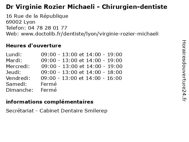 Dr Virginie Rozier Michaeli - Chirurgien-dentiste à Lyon: adresse et heures d'ouverture