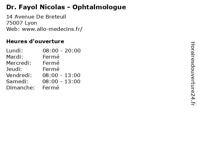 Dr. Fayol Nicolas - Ophtalmologue à Lyon: adresse et heures d'ouverture