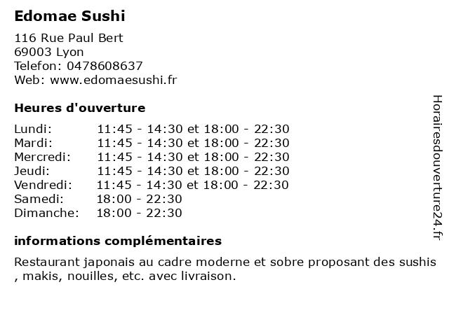 Edomae Sushi à Lyon: adresse et heures d'ouverture