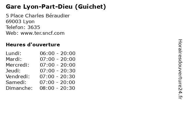 Gare Lyon-Part-Dieu (Guichet) à Lyon: adresse et heures d'ouverture