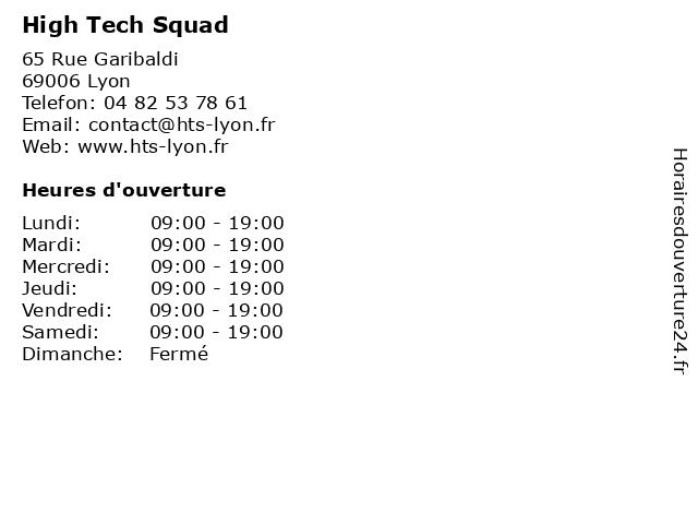 High Tech Squad à Lyon: adresse et heures d'ouverture