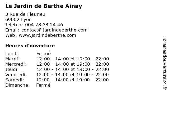 ᐅ Le Jardin de Berthe Ainay - Horaires d'ouverture   3 Rue ...