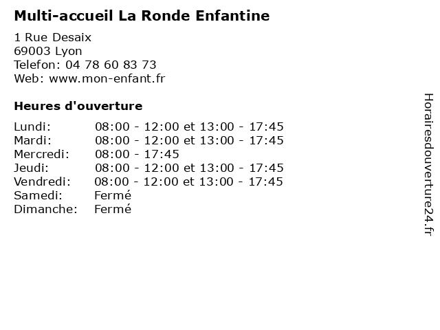 Multi-accueil La Ronde Enfantine à Lyon: adresse et heures d'ouverture