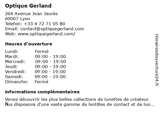 Optique Gerland à Lyon: adresse et heures d'ouverture