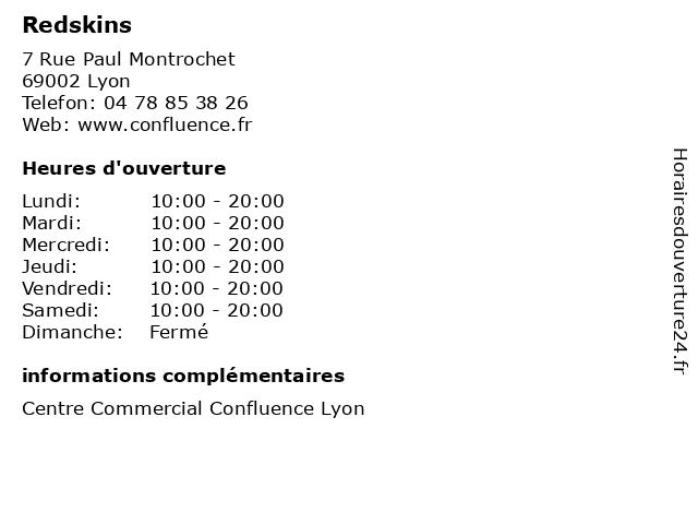 Redskins à Lyon: adresse et heures d'ouverture