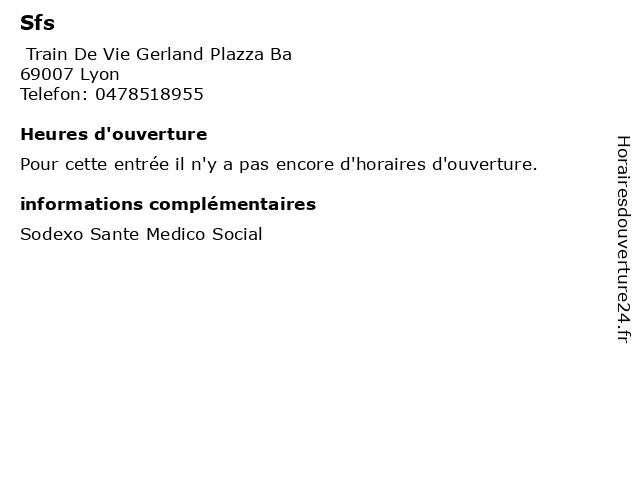 Sfs à Lyon: adresse et heures d'ouverture