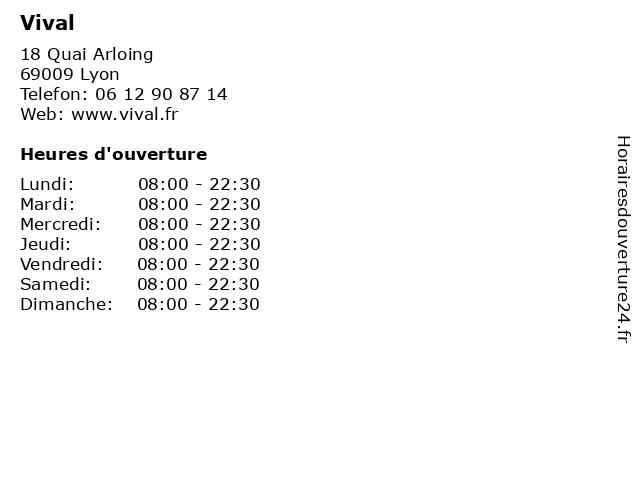 Vival à Lyon: adresse et heures d'ouverture