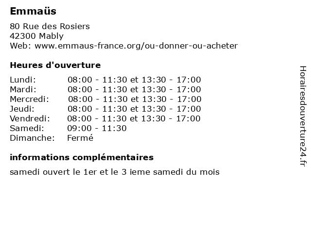 Emmaus Mably Calendrier 2021 ᐅ Emmaüs – Horaires d'ouverture | 80 Rue des Rosiers à Mably